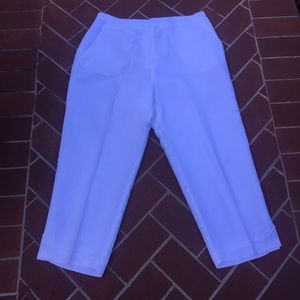 Ruby Red White Linen cropped PANTS elastic in back
